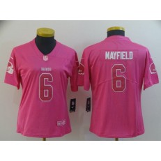Women Nike Cleveland Browns #6 Baker Mayfield Pink Rush Limited NFL Jersey