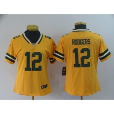 Women Nike Green Bay Packers #12 Aaron Rodgers Gold Inverted Legend Limited NFL Jersey