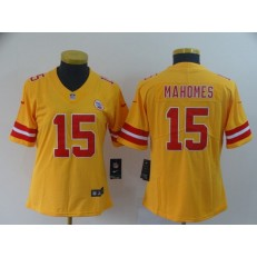 Women Nike Kansas City Chiefs #15 Patrick Mahomes Gold Inverted Legend Limited NFL Jersey