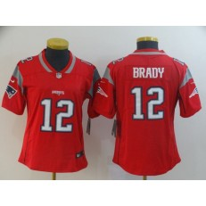 Women Nike New England Patriots #12 Tom Brady Red Inverted Legend Limited NFL Jersey
