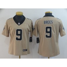 Women Nike New Orleans Saints #9 Drew Brees Cream Inverted Legend Limited NFL Jersey