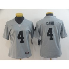 Women Nike Oakland Raiders #4 Derek Carr Gray Inverted Legend Limited NFL Jersey