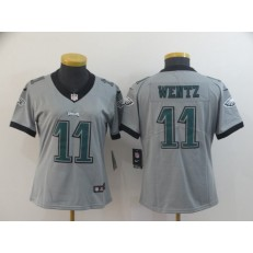 Women Nike Philadelphia Eagles #11 Carson Wentz Silver Inverted Legend Limited NFL Jersey
