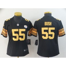 Women Nike Pittsburgh Steelers #55 Devin Bush Black Color Rush Limited NFL Jersey