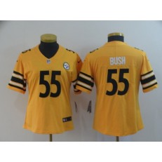 Women Nike Pittsburgh Steelers 55 Devin Bush Gold Inverted Legend Limited NFL Jersey