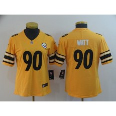 Women Nike Pittsburgh Steelers #90 T.J. Watt Gold Inverted Legend Limited NFL Jersey