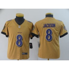 Youth Nike Baltimore Ravens #8 Lamar Jackson Gold Inverted Legend Limited NFL Jersey