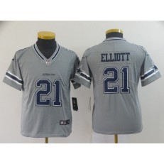 Youth Nike Dallas Cowboys #21 Ezekiel Elliott Gray Inverted Legend Limited NFL Jersey