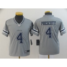 Youth Nike Dallas Cowboys #4 Dak Prescott Gray Inverted Legend Limited NFL Jersey