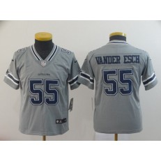 Youth Nike Dallas Cowboys #55 Leighton Vander Esch Gray Inverted Legend Limited NFL Jersey
