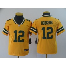 Youth Nike Green Bay Packers #12 Aaron Rodgers Gold Inverted Legend Limited NFL Jersey