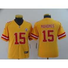 Youth Nike Kansas City Chiefs #15 Patrick Mahomes Gold Inverted Legend Limited NFL Jersey