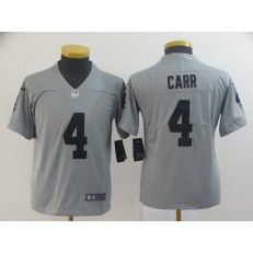 Youth Nike Oakland Raiders #4 Derek Carr Gray Inverted Legend Limited NFL Jersey