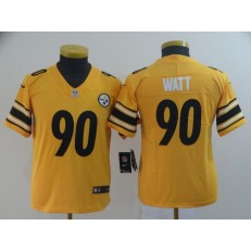 Youth Nike Pittsburgh Steelers #90 T.J. Watt Gold Inverted Legend Limited NFL Jersey
