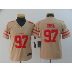 Youth Nike San Francisco 49ers #97 Nick Bosa Cream Inverted Legend Limited NFL Jersey