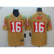 Los Angeles Rams #16 Jared Goff Gold City Edition Vapor Untouchable Limited Nike NFL Men Jersey