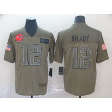 New England Patriots #12 Tom Brady 2019 Olive Salute To Service Limited NFL Nike Men Jersey