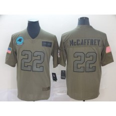 Carolina Panthers #22 Christian McCaffrey 2019 Olive Salute To Service Limited Nike NFL Men Jersey