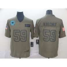 Carolina Panthers #59 Luke Kuechly 2019 Olive Salute To Service Limited Nike NFL Men Jersey
