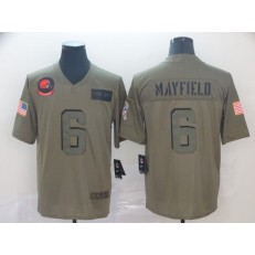 Cleveland Browns #6 Baker Mayfield 2019 Olive Salute To Service Limited Jersey