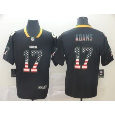 Green Bay Packers #17 Davante Adams Black USA Flag Fashion Limited Nike NFL Men Jersey