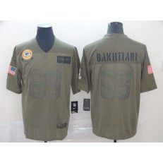 Green Bay Packers #69 David Bakhtiari 2019 Olive Salute To Service Limited Nike NFL Men Jersey
