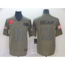 New England Patriots #11 Julian Edelman 2019 Olive Salute To Service Limited Nike NFL Men Jersey