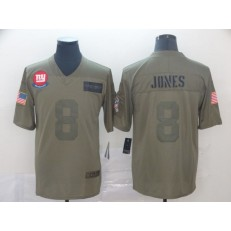 New York Giants #8 Daniel Jones 2019 Olive Salute To Service Limited Nike NFL Men Jersey