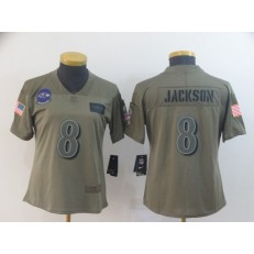 Women Nike Baltimore Ravens #8 Lamar Jackson 2019 Olive Salute To Service Limited Jersey