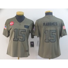 Women Nike Kansas City Chiefs #15 Patrick Mahomes 2019 Olive Salute To Service Limited Jersey