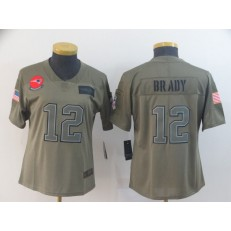 Women Nike New England Patriots #12 Tom Brady 2019 Olive Salute To Service Limited Jersey