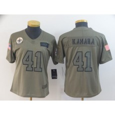 Women Nike New Orleans Saints #41 Alvin Kamara 2019 Olive Salute To Service Limited Jersey