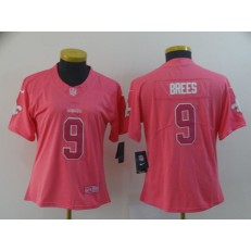 Women Nike New Orleans Saints #9 Drew Brees Pink Rush Fashion Limited Jersey