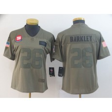 Women Nike New York Giants #26 Saquon Barkley 2019 Olive Salute To Service Limited Jersey