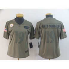 Women Nike Pittsburgh Steelers #19 JuJu Smith-Schuster 2019 Olive Salute To Service Limited Jersey