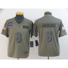 Youth Nike Baltimore Ravens #8 Lamar Jackson 2019 Olive Salute To Service Limited Jersey