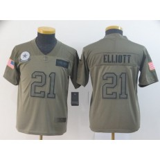 Youth Nike Dallas Cowboys #21 Ezekiel Elliott 2019 Olive Salute To Service Limited Jersey