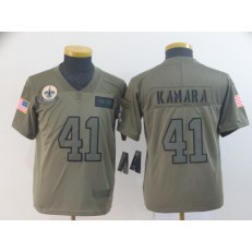 Youth Nike New Orleans Saints #41 Alvin Kamara 2019 Olive  Salute To Service Limited Jersey