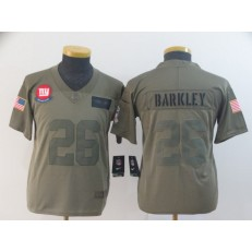 Youth Nike New York Giants #26 Saquon Barkley 2019 Olive Salute To Service Limited Jersey