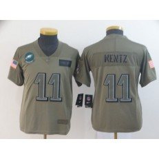 Youth Nike Philadelphia Eagles #11 Carson Wentz 2019 Olive Salute To Service Limited Jersey
