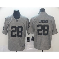 Oakland Raiders #28 Josh Jacobs Gray Gridiron Gray Limited Nike NFL Men Jersey