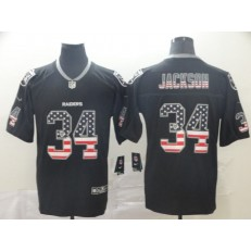 Oakland Raiders #34 Bo Jackson Black USA Flag Fashion Limited Nike NFL Men Jersey