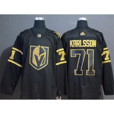 Vegas Golden Knights #71 William Karlsson Black With Special Glittery Logo Adidas NHL Men Jersey