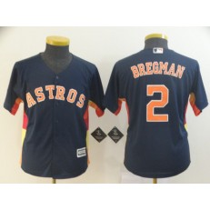 MLB Houston Astros #2 Alex Bregman Navy Youth Cool Base Jersey