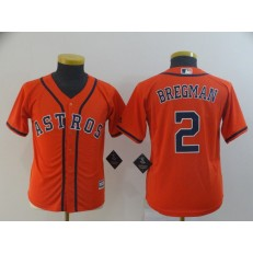 MLB Houston Astros #2 Alex Bregman Orange Youth Cool Base Jersey