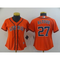 MLB Houston Astros #27 Jose Altuve Orange Women Cool Base Jersey