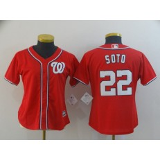 MLB Washington Nationals #22 Juan Soto Red Women Cool Base Jersey