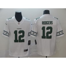 Green Bay Packers #12 Aaron Rodgers White Team Logos Fashion Vapor Limited Nike NFL Men Jersey