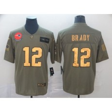 New England Patriots #12 Tom Brady 2019 Olive Gold Salute To Service Limited Nike NFL Men Jersey