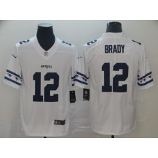 New England Patriots #12 Tom Brady White Team Logos Fashion Vapor Limited Nike NFL Men Jersey